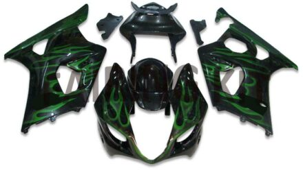 US stock Injection Green Flame Fairing Fit for Suzuki 2003-2004 GSXR 1000 a047