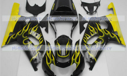 Fairing Yellow Flames Black Fit for GSX-R 600/750 2001-2003 Injection Mold n#63