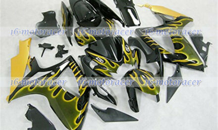 Fairing Fit for Suzuki GSXR 600 750 2006-2007 Injection Yellow Flames Black #109