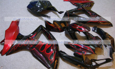 Fairings Fit for 2008-2010 GSXR 600 750 K8 Black Red Flame Injection Molding #74