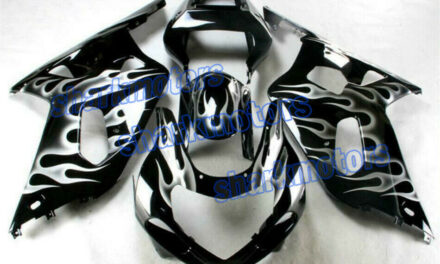 Fairing New White Flames Black Injection Plastic Fit for 01-03 GSXR 600 750 aD6