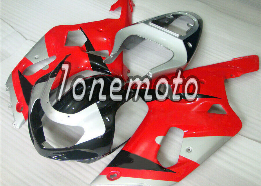 Fit for 2001-2003 GSX-R 600 750 Injection Plastic Silver Black Red Fairing #As