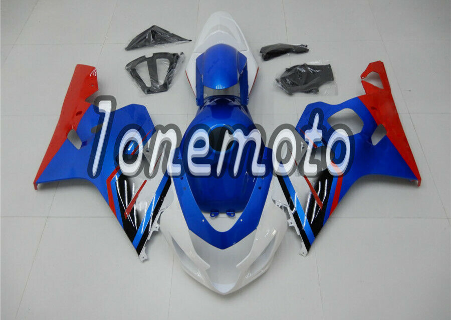 Fit for GSXR 600 750 2004-2005 K4 White Blue Red Injection ABS Fairing Kit #Ad