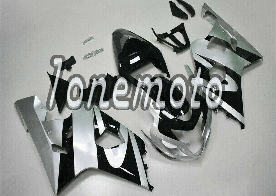 Fit for GSXR 600 750 2004-2005 K4 New Silver Black Injection Molding Fairing #Ah