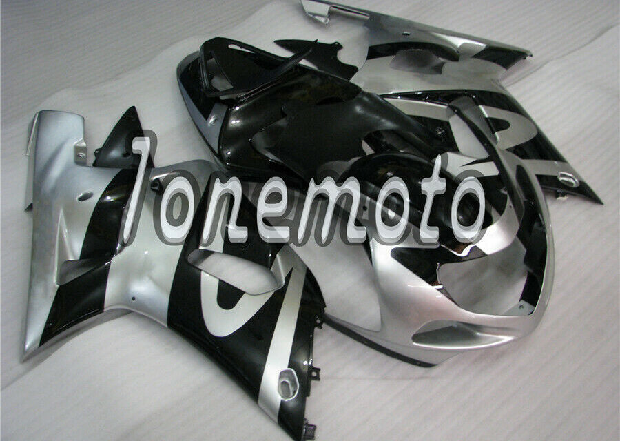 Fit for 2001-2003 GSX-R 600 750 Silver Black Injection Plastics Set Fairing #At