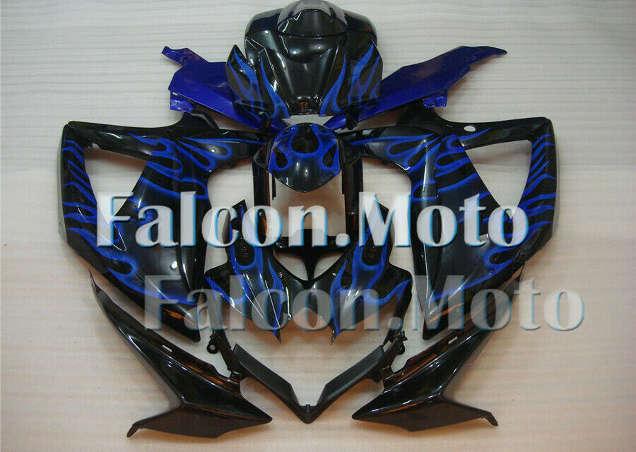 Injection Plastic Blue Flames Black Fairing Fit for GSXR 600 750 K8 2008-2010 DN