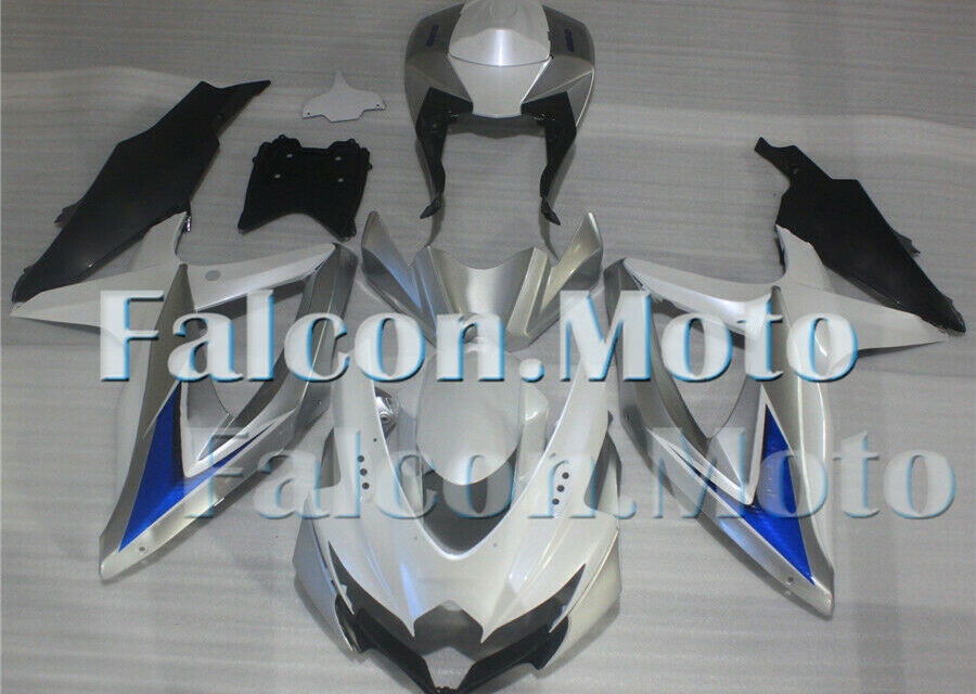 New Silver White Black Fairing Fit for 2008-2010 GSXR 600 750 ABS Injection Mold