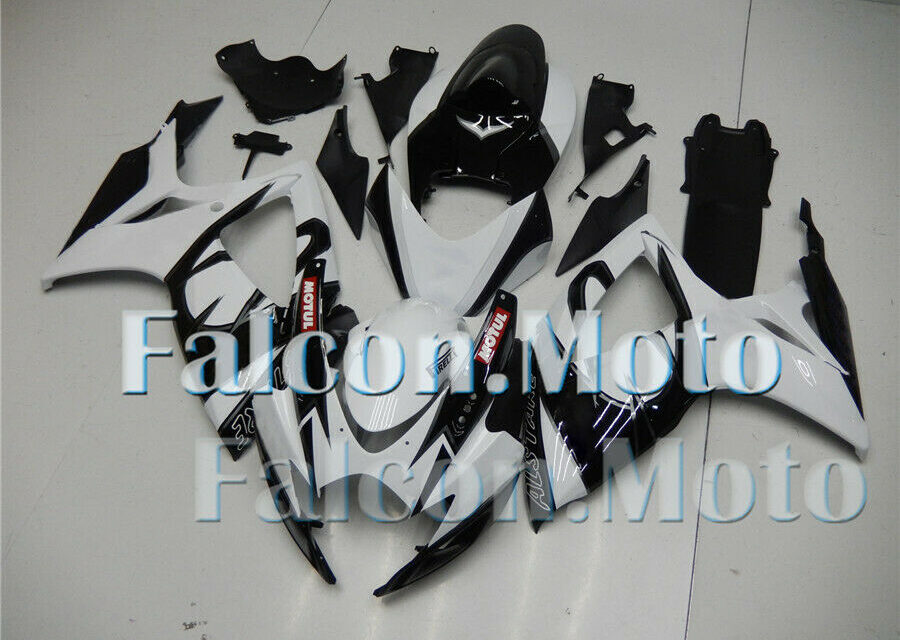 White Black Injection Body Kit Fairing Fit for GSXR 600 750 2006 2007 K6 Mold CL