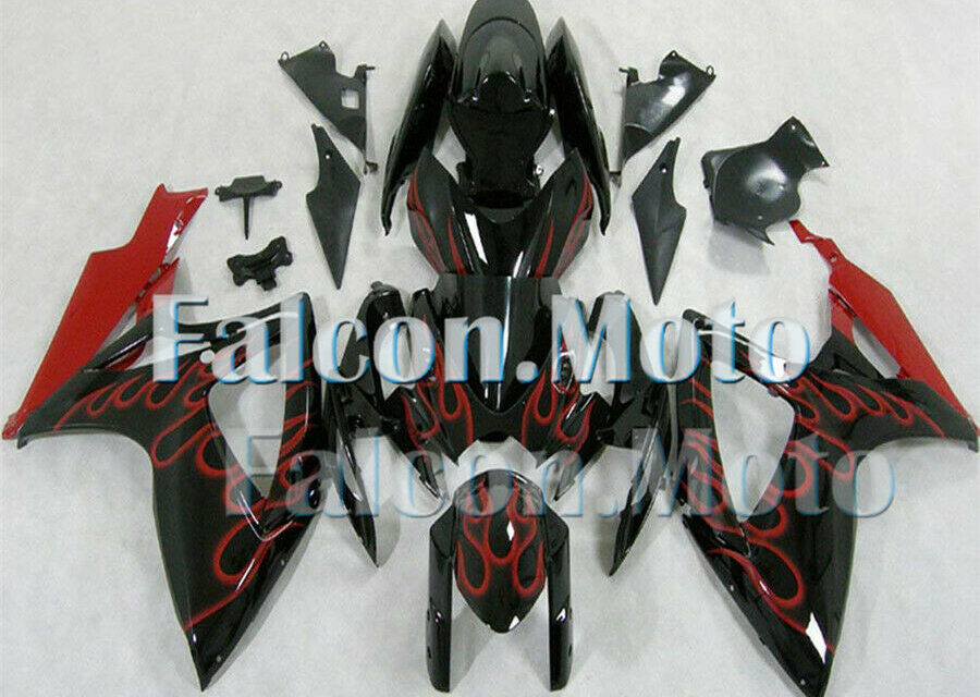 Red Flames Black Injection ABS Plastic Fairing Fit for 06-07 GSXR 600 750 K6 aBD
