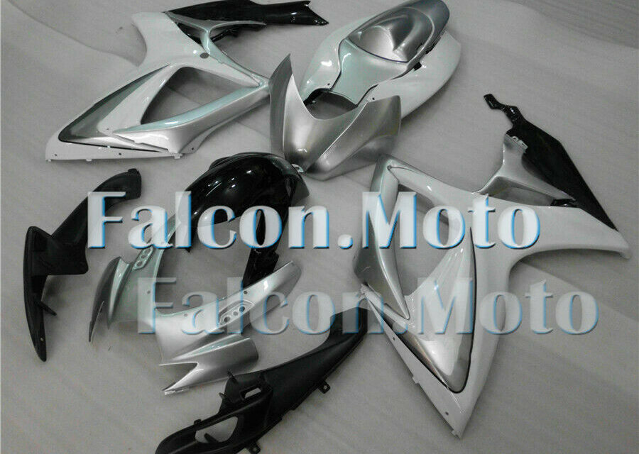 Complete Injection Silver White Black Fairing Fit for GSX-R 600 750 K6 2006 2007
