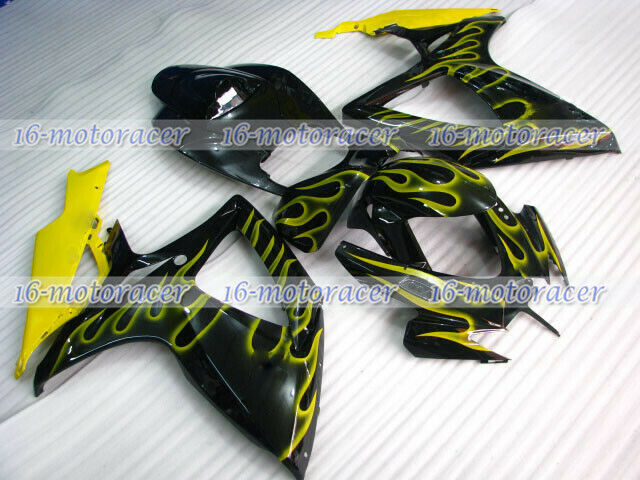 Fairing Injection Mold Fit for 2006 2007 GSXR 600/750 K6 Black Yellow Flames #44