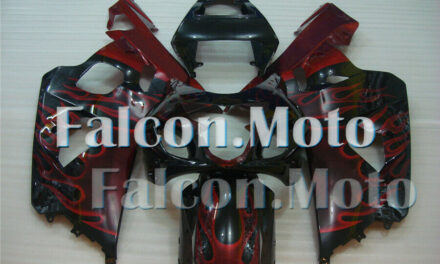 New Red Flames Black Injection Plastic Fairing Fit for 2004 2005 GSXR 600 750 K4