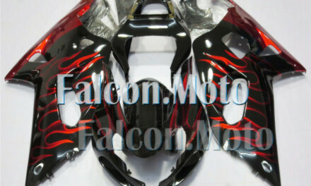 Red Flames Black Fairing Fit for 2001-2003 GSXR 600 750 K1 Injection Plastic iAE
