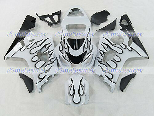 Fairing Black Flames White Injection Plastic Fit for 04-05 GSXR 600 750 K4 #112