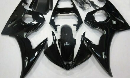 Fairing Injection Plastic Kit Gloss Black w/bolt Fit For YAMAHA 2005 YZF R6 FA
