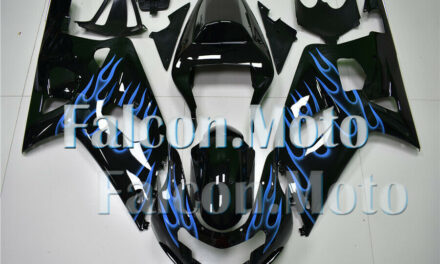 Black Blue Flame Injection Plastic Fairing Fit for 2001-2003 GSXR 600 750 K1 iAA