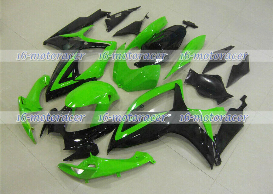 Fairing Complete Injection Black Green Fit for GSXR 600 750 K6 2006 2007 ABS #76