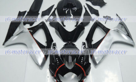Fairing Injection Mold Body Kit Fit for 2006 2007 GSXR 600/750 Black Silver a#21
