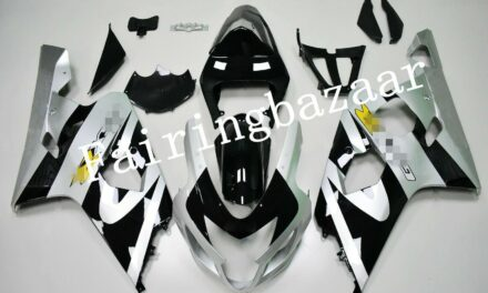 Fit for 2004 2005 GSXR600 GSXR750 Silver Black ABS Plastic Injection Fairing Kit