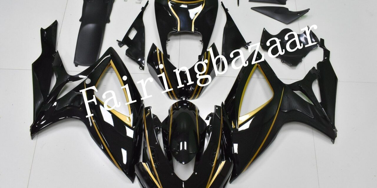 Fit for 2006 2007 GSXR600 GSXR750 Black Gold ABS Injection Mold Fairing Kit