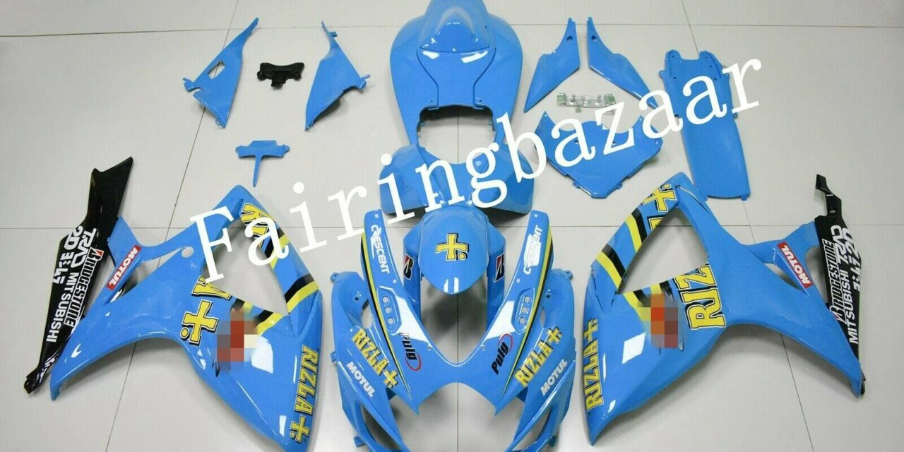Fit for 2006 2007 GSXR600 GSXR750 RIZLA Blue Black ABS Injection Fairing Kit