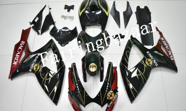 Fit for 2006 2007 GSXR600/750 BACARDI Black Red Gold ABS Injection Fairing Kit