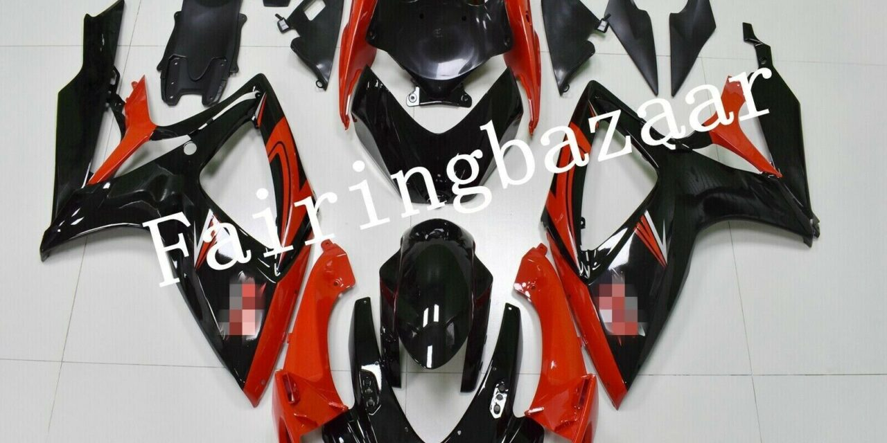 Fit for 2006 2007 GSXR600 GSXR750 Black Red ABS Plastic Injection Fairing Kit