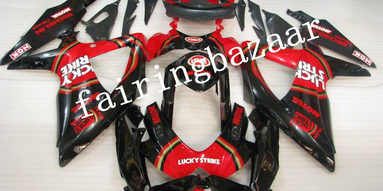 Fit for 2008-2010 GSXR600/750 Lucky Strike Black Red ABS Injection Fairing Kit