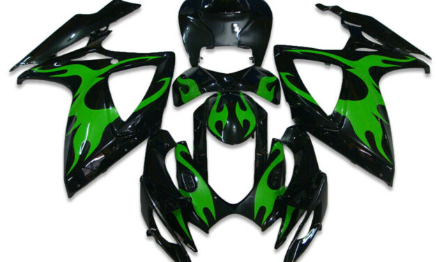 FK Injection Green Flame Black Fairing Fit for Suzuki 06-07 GSXR 600 750 a074
