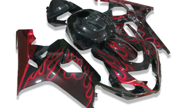 FK Injection Red Flame Black Fairing Fit for Suzuki 2004 2005 GSXR 600 750 a017