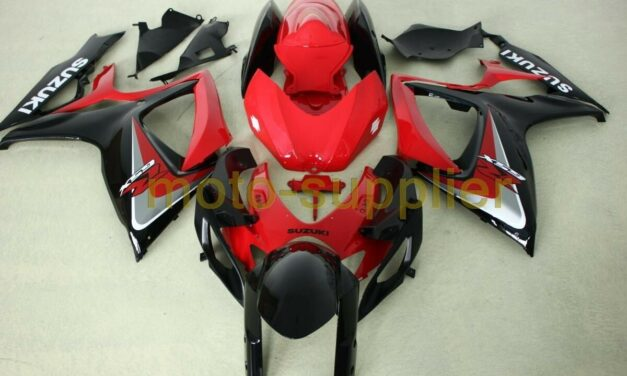 AFTERMARKET ABS PLASTIC FAIRINGS FOR GSXR600/750 06-07 RED BLACK AND SILVER