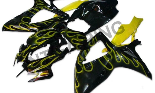 GL Injection Yellow Flame Fairing Fit for Suzuki 2006 2007 GSXR 600 750 a058