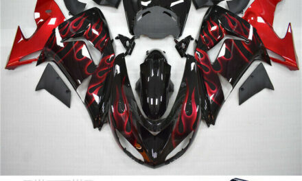 Red Flames Injection Fairing Kit Plastic Fit for Kawasaki ZX10R 2006 2007 UE
