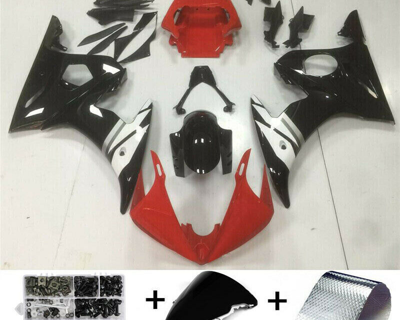 Fairing Injection Plastic Kit Red White Fit For YAMAHA 2003 2004 YZF R6 BB