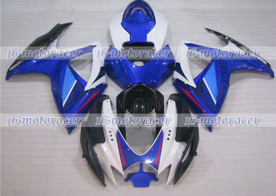 Fairing Complete Injection White Blue Black Fit for GSXR 600 750 06-07 ABS a#75
