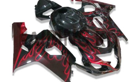 FK Injection Red Flame Black Fairing Fit for Suzuki 2004 2005 GSXR 600 750 f017
