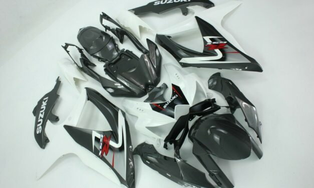 AFTERMARKET ABS PLASTIC FAIRINGS FOR GSXR600/750 08-09 WHITE AND BLUE METAL
