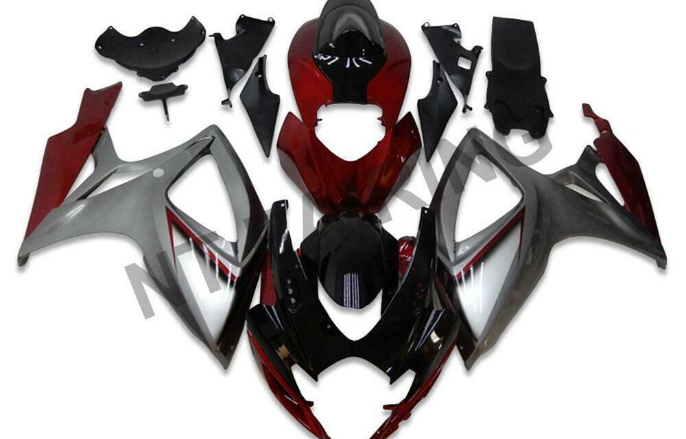DS Injection Red Silver Fairing Kit Fit for Suzuki 2006 2007 GSXR 600 750 m006