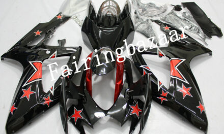 Fit for 2006 2007 GSXR600 GSXR750 Black Red Star ABS Injection Mold Fairing Kit