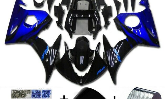 Fairing Blue Black Injection Plastic Kit Fit For YAMAHA 2003 2004 YZF R6 H2