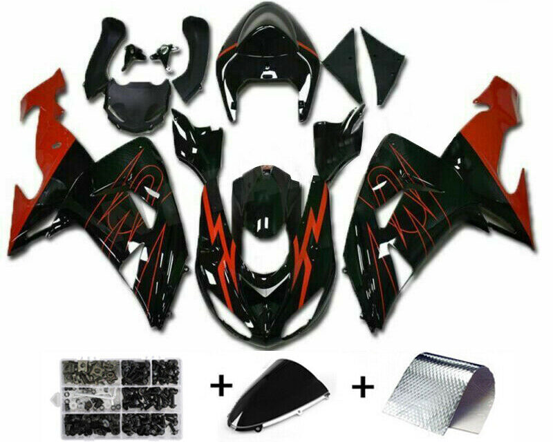 Red Black Injection Fairing Kit Plastic Fit for Kawasaki ZX10R 2006 2007 H2