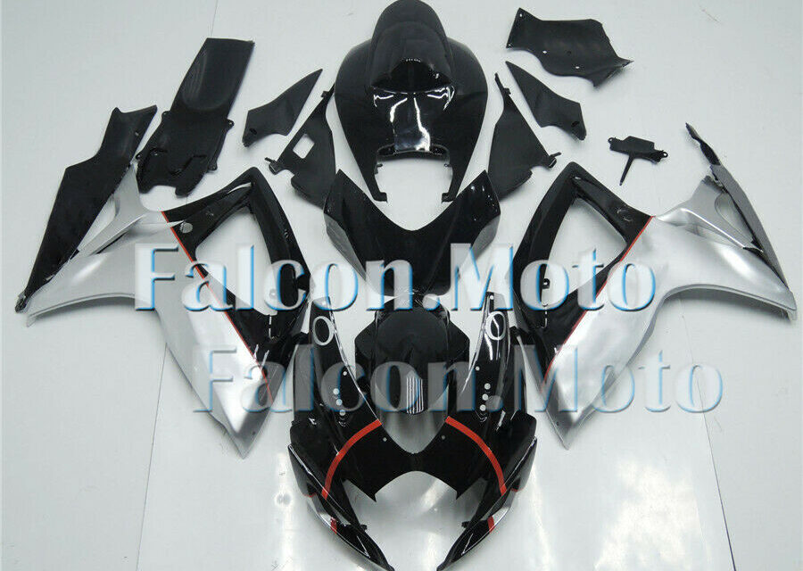 Fairing Injection Silver Black Fit for 2006-2007 GSXR GSX-R 600 750 ABS New aBQ