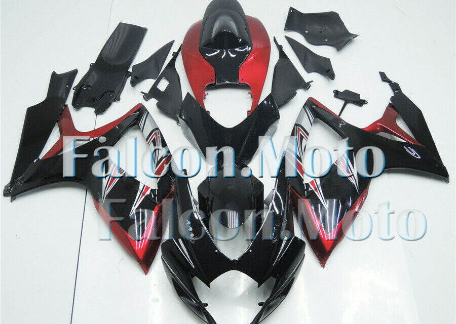 Fairing Fit for 2006 2007 GSXR 600 750 K6 ABS Injection Mold Black Pearl Red aHV