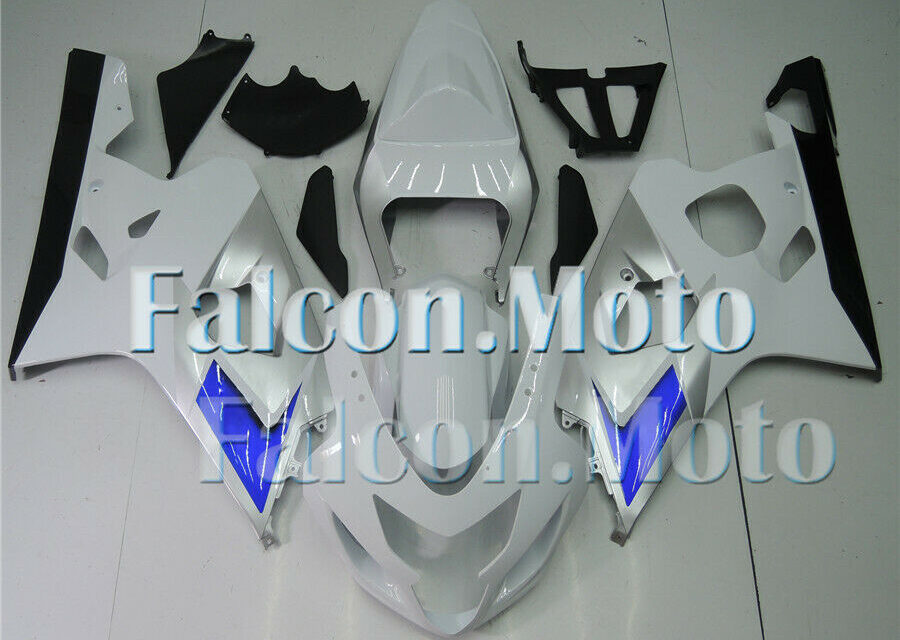 White Silver Black Fairing Fit for 2004-2005 GSXR 600 750 K4 04-05 Injection ABS