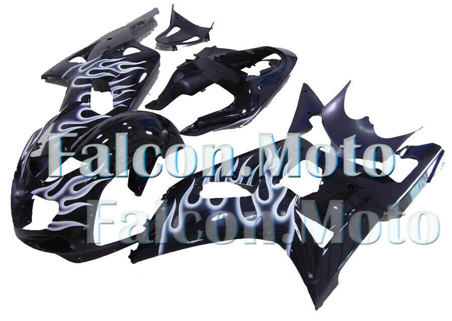 Fairing New White Flames Black Injection Plastic Fit for 2001-2003 GSXR 600 750