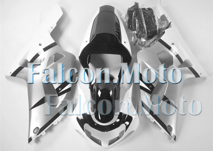Silver Black White Fairing Fit for 2001-2003 GSXR 600 750 ABS Injection Mold aBY