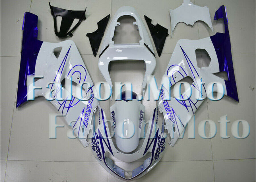 Blue White Complete Fairing Fit for 2001-2003 GSX-R 600 750 K1 Injection ABS aGJ