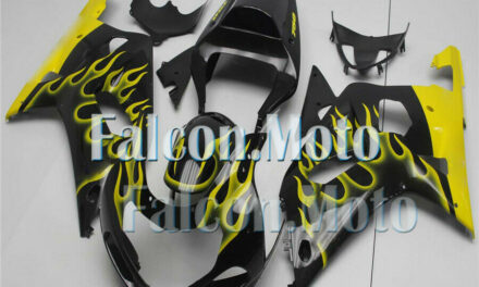 Black Yellow Flames Injection Plastic Fairing Fit for 2001-2003 GSX-R 600 750 K1
