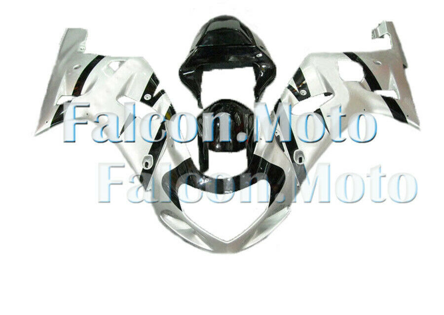 Complete Silver Black Injection Fairing Kit Fit for 01-2003 GSX-R 600 750 K1 aCG