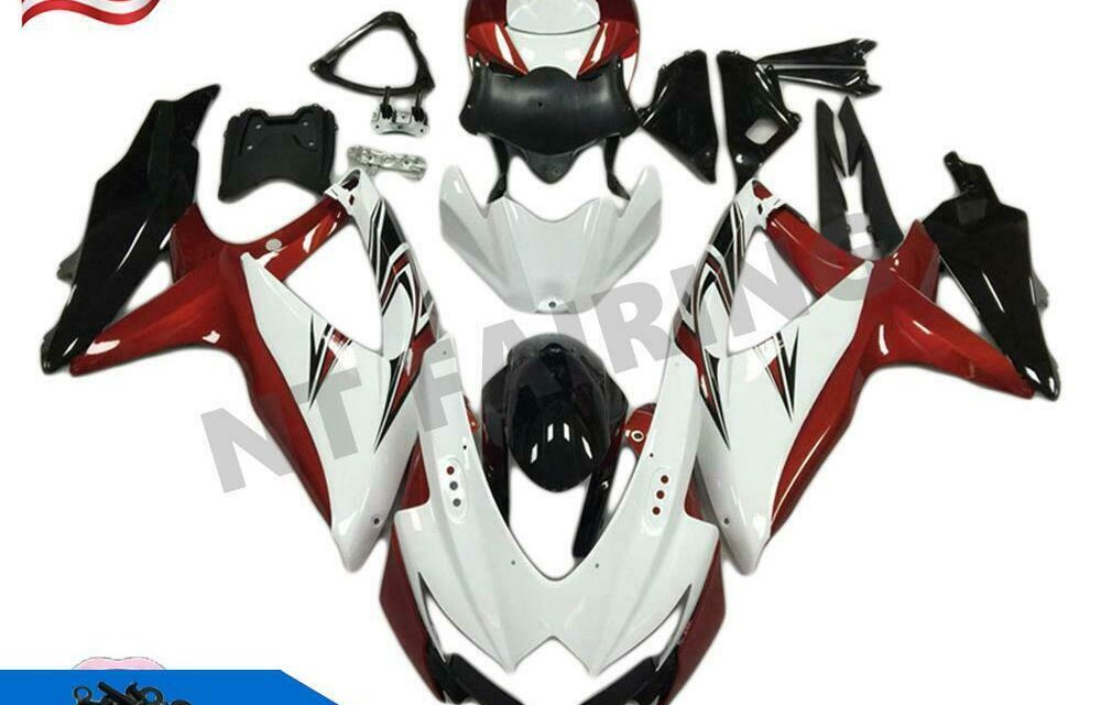 Injection Mold White Red Fairing Fit for Suzuki 2008-2010 GSXR 600 750 a011